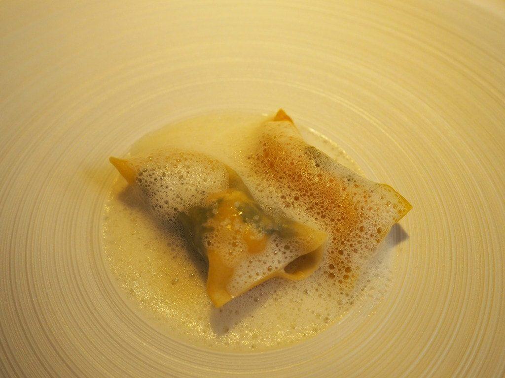 langoustine raviole parmesan