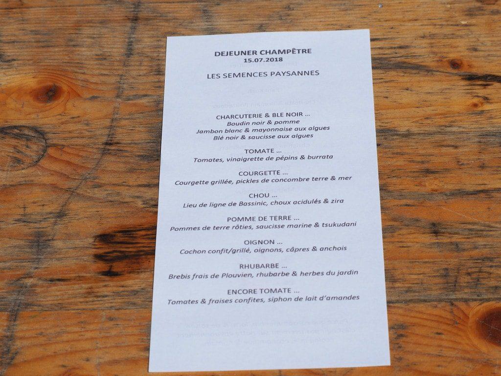 menu déjeuner champêtre