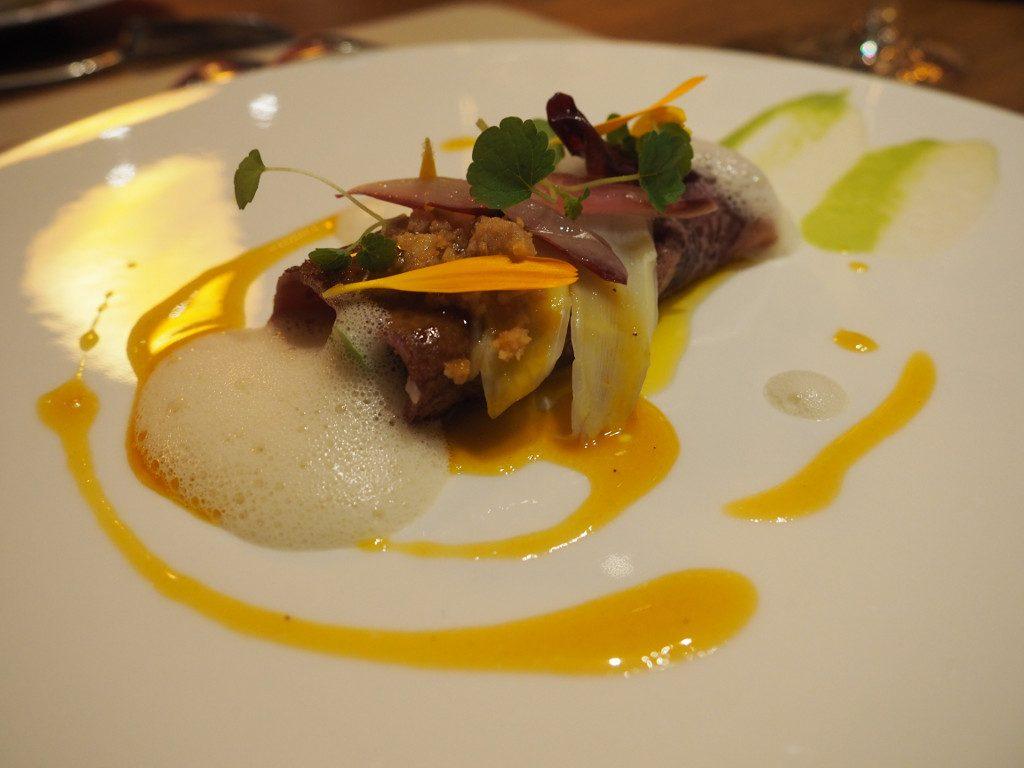 foie gras vin rouge et asperges